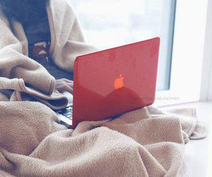 apple, girl, and laptop image