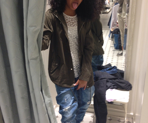 boyfriend jeans, curls, and sneakers image