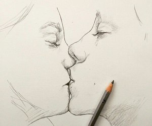 drawing, kiss, and love image
