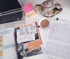 book, laptop, and notes image