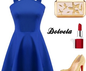 blue dress, red lipstick, and gold pumps image