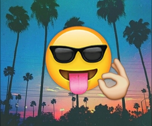 beach, emoticon, and palms image