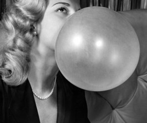 bubble, chewing gum, and woman image