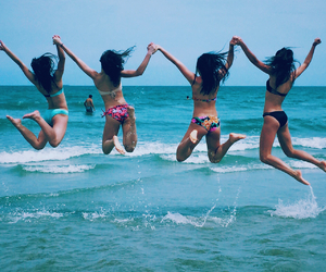 beach, florida, and jumping image