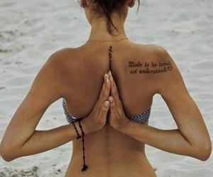 beach, woman, and yoga image