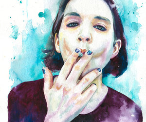 Brian Molko, cigarette, and drawing image