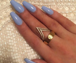nails, beautiful, and rings image