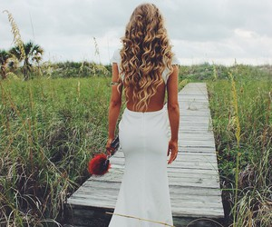 hair, blonde, and dress image