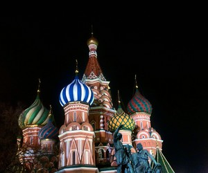moscow, night, and st basil's cathedral image