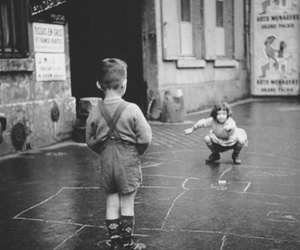 black and white and hopscotch image