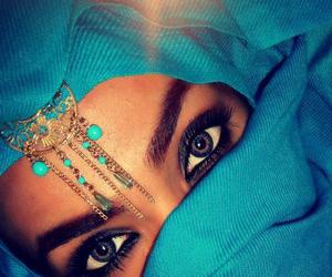 eyes, blue, and hijab image