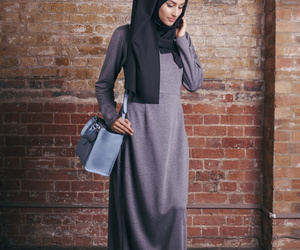 black, long sleeve, and maxi dress image