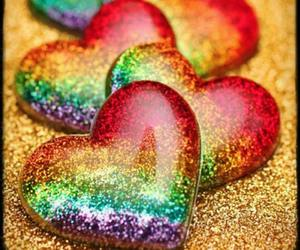 heart, hearts, and rainbow image