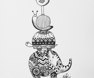 animals, black and white, and doodles image