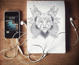 animal, headphones, and painting image
