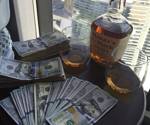 money, alcohol, and drink image
