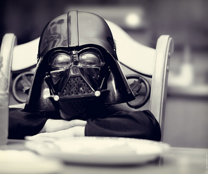 cute, black and white, and darth vader image