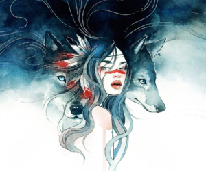 art, girl, and wolf image