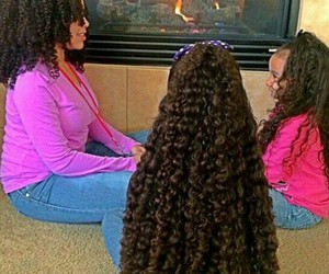 beautiful hair, curly hair, and family image