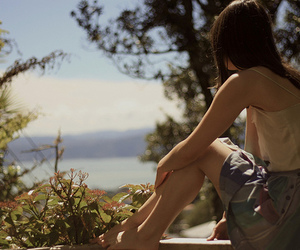 girl, ocean, and trees image
