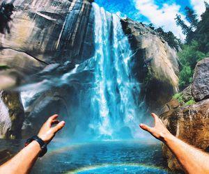 rainbow, waterfall, and adventure image