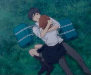 anime, ao haru ride, and hug image