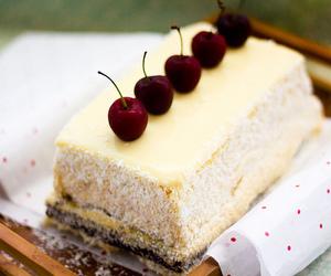 food, cake, and cherry image