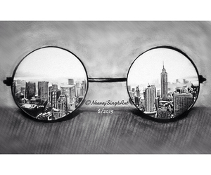 glasses, art, and city image