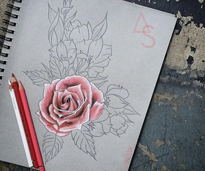 art, drawings, and flower image
