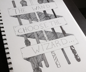 harry potter, wand, and wizard image