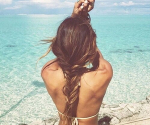 beach, carefree, and hair image