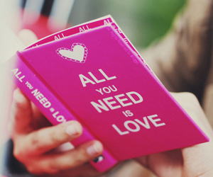 love, book, and pink image