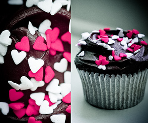 cupcake, hearts, and food image