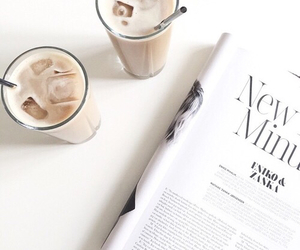 coffee, magazine, and white image