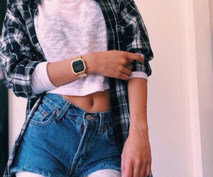 checked, denim shorts, and flannel image
