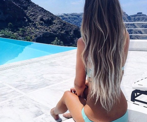 beach, long hair, and fit girl image