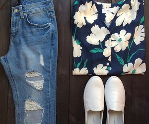 bow, shoes, and jeans image