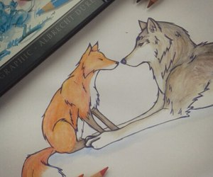 drawing, fox, and wolf image