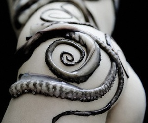 black and white, Nude, and octopus image