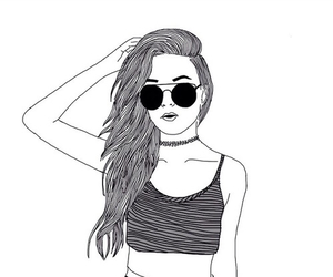 girl, drawing, and outline image
