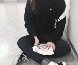 asian, black, and nike image