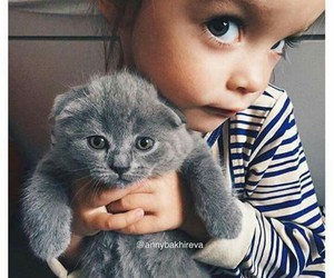 girl, cat, and baby image
