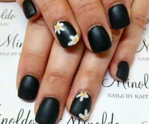 black, manicure, and flowers image