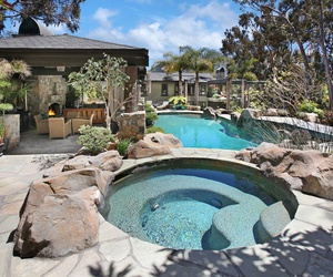 dream house, mansion, and pools image