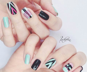 black, chevron, and mint image