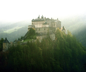 castle, mountains, and nature image
