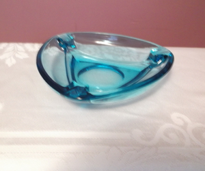 ashtray, vintage, and blue glass image