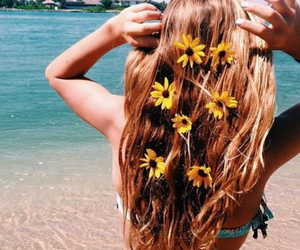 beach, hair, and yellow image