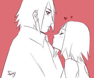sakura, sasuke uchiha, and sasusaku image