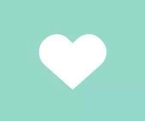 background, heart, and teal image